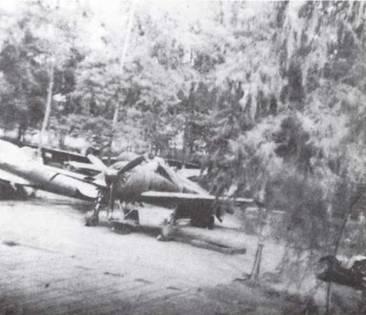 Палубный истребитель Тип О (А6М) на расчищенной площадке в джунглях Буйна на Бугенвиле. Видны характерные для японских полевых аэродромов стальные плиты наземного покрытия. (Фото USAF)