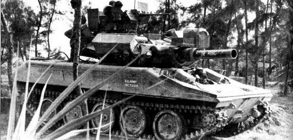 Один из «шериданов» 1-го кавалерийского полка во Вьетнаме. На машине хорошо видны все элементы «вьетнамской» модернизации