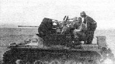 Захваченный тяжелый истребитель танков PzSfl V (на заднем плане). Зима 1943 г.