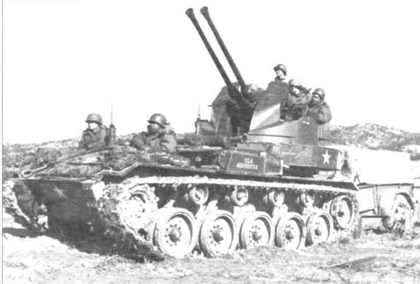 Зенитная установка М19. Предназначалась для борьбы с низколетящими целями и легкобронированными машинами противника