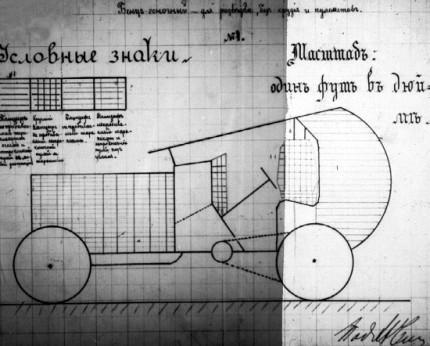 """Схема бронировки гоночного """"Бенца"""" в 150 л.с. для ведения разведки, представленная подполковником Чемерзиным в ГВТУ. Ноябрь 1914 года (РГВИА)."""