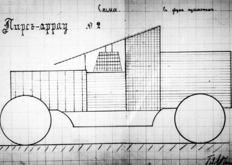 """Схема бронировки автомобиля """"Пирс-Арроу"""" в 120 л.с. под установку двух пулеметов, представленная подполковником Чемерзиным в ГВТУ. Ноябрь 1914 года (РГВИА)."""