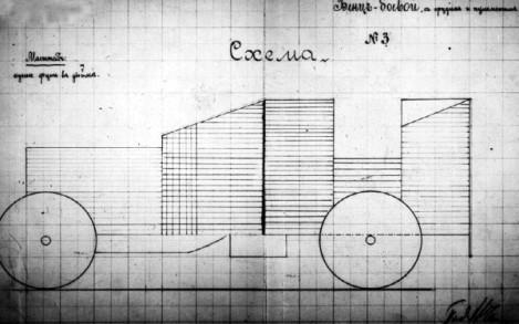 """Схема бронировки гоночного """"Бенца"""" в 100 л.с. под установку 37-мм пушки и пулемета, представленная подполковником Чемерзиным в ГВТУ. Ноябрь 1914 года (РГВИА)."""