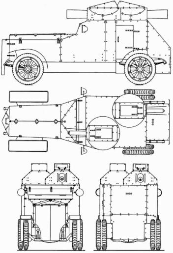 Общий вид броневика «Армстронг-Уитворт-Фиат» после переделки.