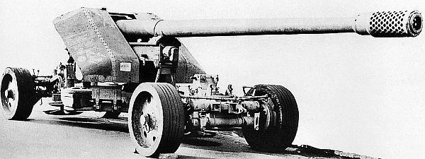 128-мм противотанковая пушка Рак 44 фирмы Krupp в походном положении