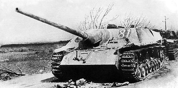 Panzer IV/70(V), подбитый в районе озера Балатон. Венгрия, март 1945 года. Номер 81 нанесен советской трофейной командой