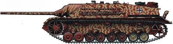 Panzer IV/70(V). Одна из последних машин, выпущенных в марте 1945 года. Песочный камуфляж нанесен прямо по грунтовой окраске