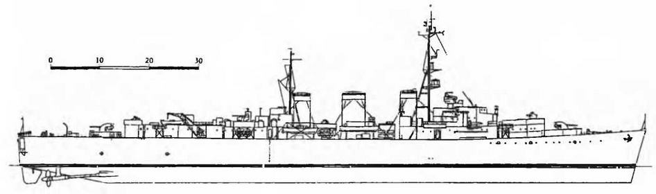 "Крейсер ""Мэнксмэн*. 1943 г. (Наружный вид)"
