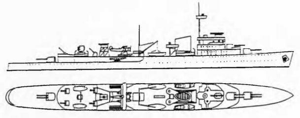 """Крейсер """"Тромп"""" . 1938 г. (Наружный вид и вид сверху)"""
