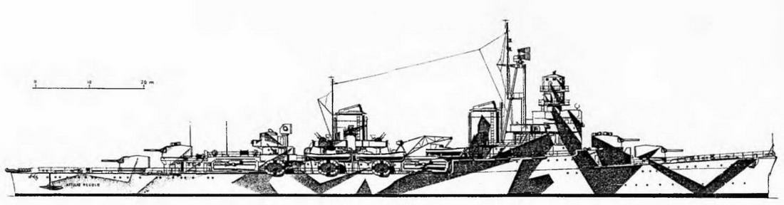 """Легкий крейсер """"Аттилио Реголо"""" . 1943 г. (Наружный вид)"""