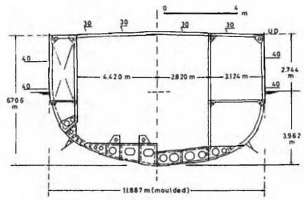 """Легкий крейсер """"Нинг Хай"""". 1930 г. (Конструктивный чертеж мидель-шпангоута)"""