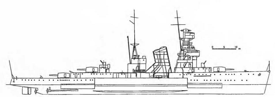 """Легкий крейсер """"Нинг Хай"""". 1930 г. (Наружный вид)"""