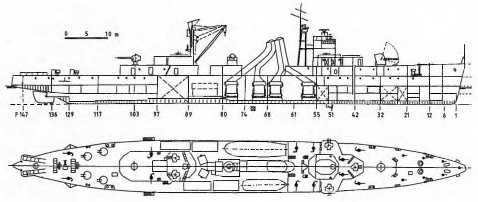 """Легкий крейсер """"Яшошима"""" (б. """"ПингХай""""). Август, 1944 г. (Продольный разрез и вид сверху)"""