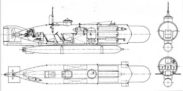 Немецкая миниатюрная подводная лодка типа Hecht.