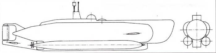 Немецкая миниатюрная подводная лодка типа XXVI B1-B4.