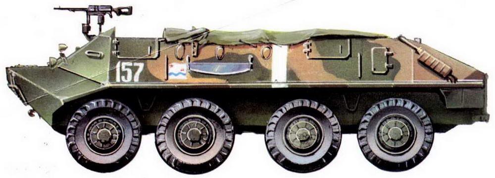 """Бронетранспортер БТР-60П одной из частей морской пехоты. Учения """"Юг"""", апрель 1971 года."""