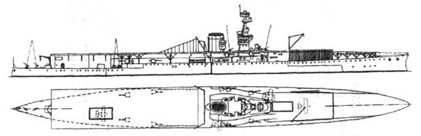Авианосец «Фьюриес» в 1918 году