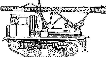 Пусковая установка РС-132 на гусеничном тракторе СТ 3-5-НАТИ.