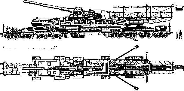 Железнодорожная артиллерийская установка ТМ-2-12 на боевой позиции.