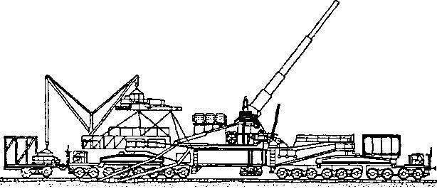 Артиллерийская установка ТМ-1-14 в положении стрельбы с железнодорожного полотна.