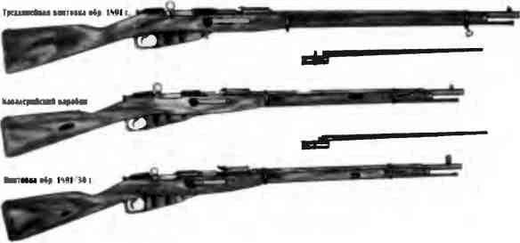 Трехлинейная винтовка образца 1891г. и созданные на ее основе кавалерийский карабин и винтовка образца 1891 1930гг