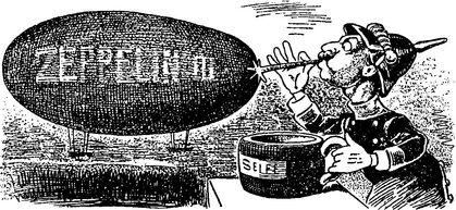«Вилли надувается» — карикатура по поводу участия германского императора Вильгельма II в строительстве первых цеппелинов.