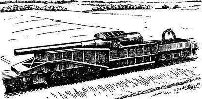 Тяжелая железнодорожная артиллерийская установка периода Первой мировой войны.