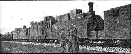 Немецкий бронепоезд №28 после перевооружения советским оружием. Лето 1942 года.