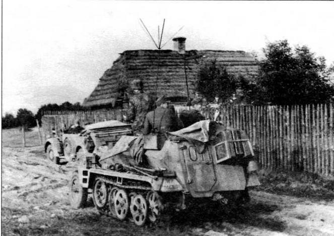 Бронетранспортер Sd.Kfz.250/3 позднего выпуска, оснащенный штыревой антенной с «метелкой». Восточный фронт, 1944 год