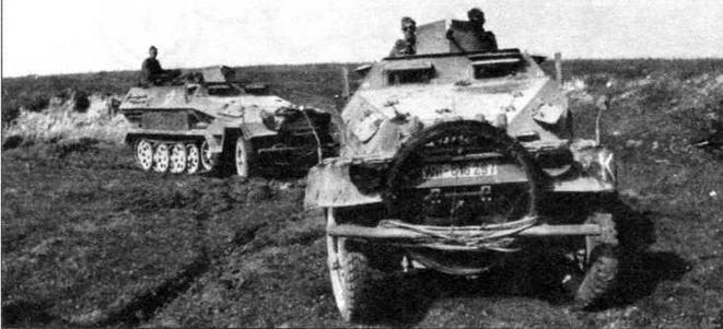 Бронетранспортеры для инженерных войск Sd.Kfz.251/5 легко узнать по закрепленным перед капотами бухтам электрокабеля