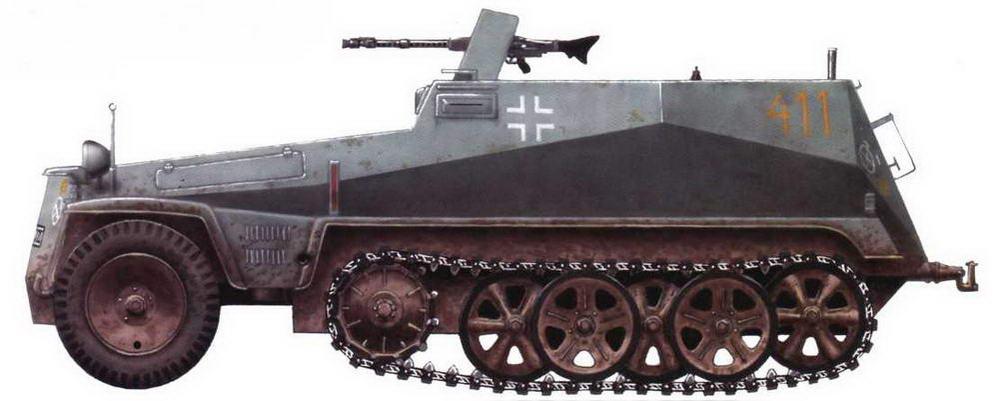 Легкий бронетранспортер Sd.Kfz.250/1. 4-я рота мотоциклетного батальона 13-й танковой дивизии. Восточный фронт, 1941 г.