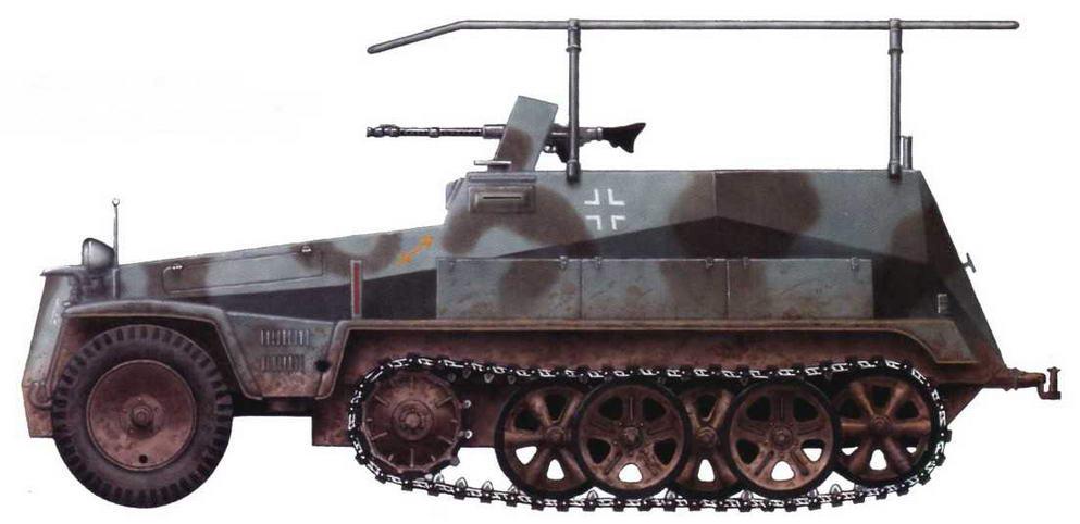 Машина связи Sd.Kfz.250/3 I. 23-я танковая дивизия. Восточный фронт, группа армий «А», 1942 г.