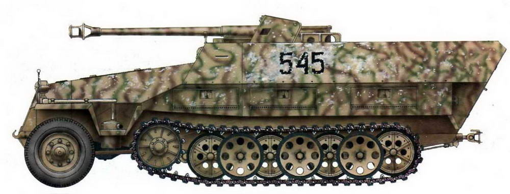Самоходная артиллерийская установка Sd.Kfz.251/22. Германия, 1945 г.