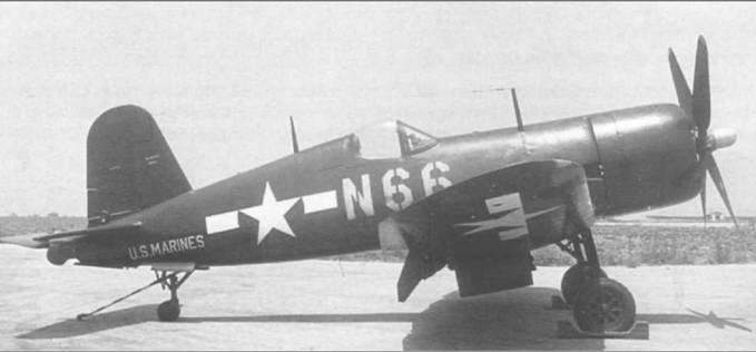 F4U-4 (BuNo 82025) из эскадрильи КМП VMF-323 Death Rattlers, в 1946 году базировавшейся в Эль Topo, Калифорния, был целиком окрашен в Glossy Sea Blue с номерами желтого цвета.