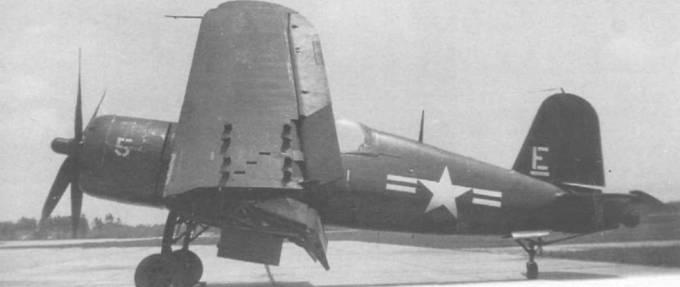 F4U-4, бортовой номер 5, нес код «Е» белого цвета на киле и был приписан к штабной эскадрилье авиабазы Черри Пойнт. Самолет сфотографирован во время визита на авиабазу Вашингтон в 1948 году. Номер «5» на капоте белого цвета.