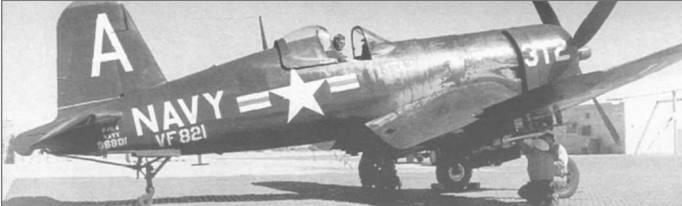 Сфотографированный на стоянке в 1951 году F4U-4 (BuNo 96801) из VF-821 вооружен практическими ракетами для учебных стрельб на полигоне Эль Сентро, Калифорния. Этот «Корсар» из подразделения Резерва базировался в Новом Орлеане и принимал участие в войне в Корее.