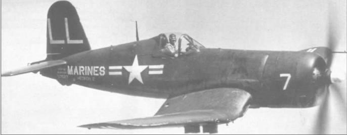 F4U-4P (BuNo 97527), бортовой номер 7, из штабной эскадрильи HEDRON-2 в полете над Северной Каролиной. F4U-4P сохранил вооружение версии F4U-4B. Эта модификация могла использоваться и как фоторазведчик и как <a href='https://arsenal-info.ru/b/book/1324344198/31' target='_self'>истребитель-бомбардировщик</a>, сохранив все свои ударные возможности.