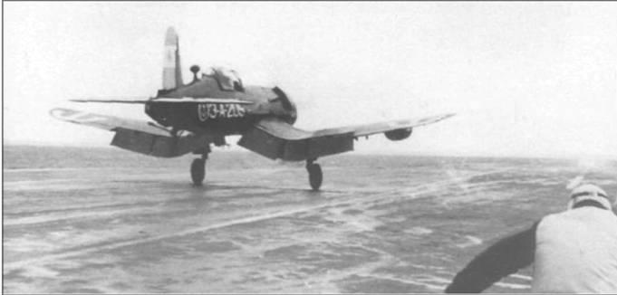 F4U-5NL, с номером 3-А-205, взлетает с палубы аргентинского авианосца «Индепенденсиа», 1958 год. Аргентина приобрела множество F4U-5N/-5NL в США рамках Плана оборонной взаимопомощи.