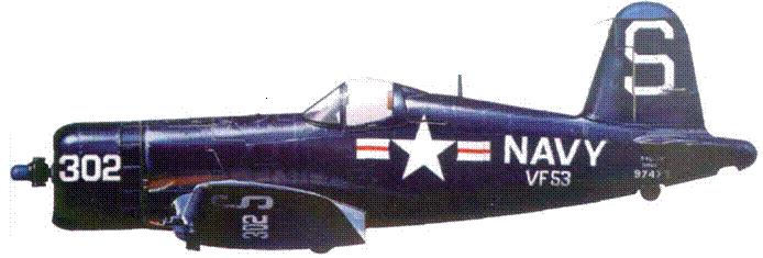 F4U-4B из VF-53, авианосец «Эссекс», прибрежная зона Кореи, февраль 1952 г. Летчики этой части одними из первых приняли участие в боях над Кореей,