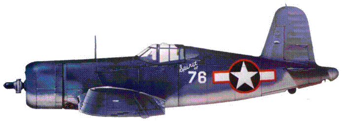 F4U-1 «Spirit of 76» майора Роберта Оувенса, VMF-215, Мунда, август 1943 г.