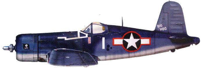 F4U-1A «BIG HOG» командира эскадрильи Томми Блэкберна, VF-17, конец 1943 г.