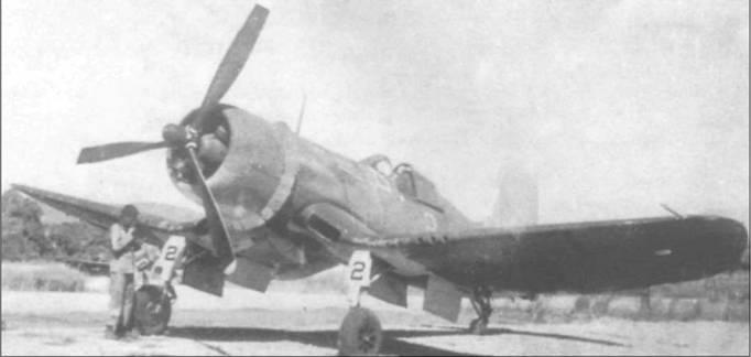 F4U-1 был оснащен трехлопастным винтом Гамильтон Стандарт диаметром 4,1 м – самым большим среди истребителей Второй Мировой войны. Этот F4U-1 входил в состав VMF-124 на Гуадалканале в марте 1943 года.
