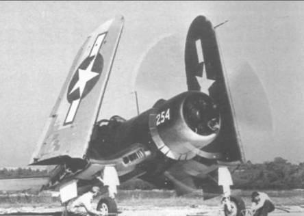 Как только техники вытащат колодки из под колес, FG-1A (BuNo 14254) развернет свои крылья и взлетит с заводского аэродрома Гудьир в Акроне, Огайо, 16 мая 1944 года. Этот Корсар воевал в составе VMF- 212, а также SEVRON-14. Он пережил войну и был списан 31 декабря 1945 года.