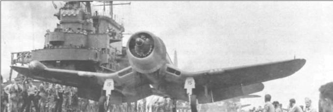 F4U-2, бортовой номер 15, из VF(N)-101 готов к запуску с <a href='https://arsenal-info.ru/b/book/3255819205/125' target='_self'>катапульты авианосца</a> «Энтерпрайз», конец января 1944 года. Это подразделение стало первой эскадрильей ночных истребителей Флота, которая действовала с борта авианосца. В течение шестимесячного боевого дежурства VF(N)-101 одержала пять побед.