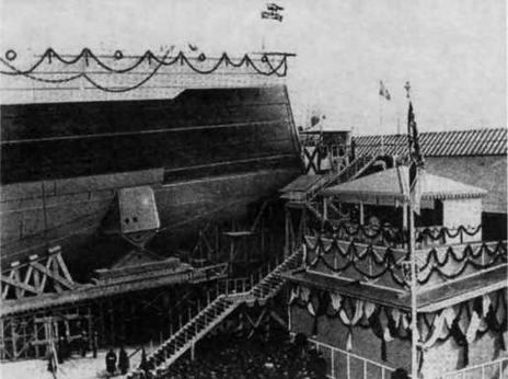 """Линейный корабль """"Кайзер"""" перед спуском на воду. 22 марта 1911 г."""