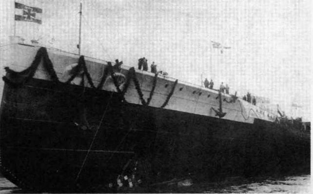 """Линейный корабль """"Гроссер Курфюрст"""" после спуска на воду. 5 мая 1913 г."""