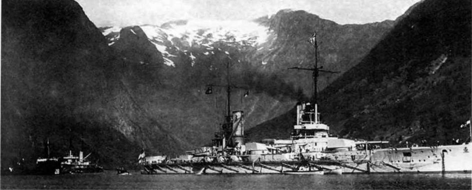 """Линейный корабль """"Фридрих дер Гроссе"""" в Норвегии. 1913 г."""