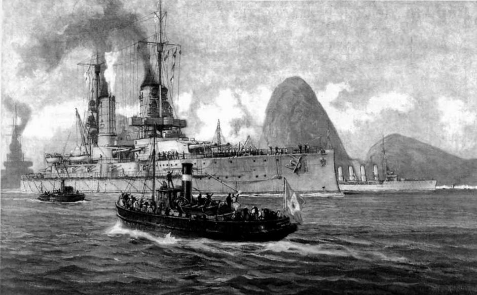 """Линейные корабли """"Кайзер"""" , """"Кениг Альберт"""" и крейсер """"Страсбург"""" в Рио-де-Жанейро. 1913 г."""