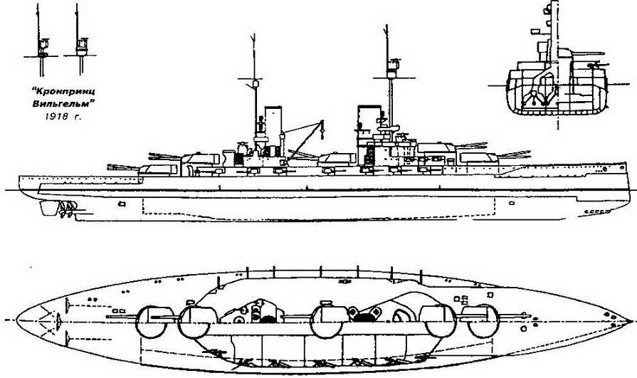 """Линейные корабли типа """"Кениг"""" (Наружный вид, аид сверху, план батарейной палубы и поперечное сечение в районе миделя)"""