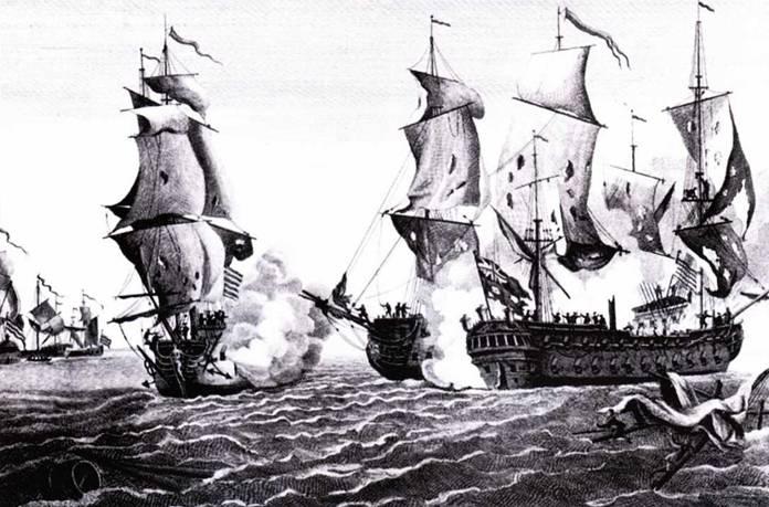 Bonne Нотте Richard и HMS Serapis ведут самую известную дуэль, имевшую место в ходе американской революции. Оба были двухпалубными кораблями, хотя их часто ошибочно называют фрегатами.